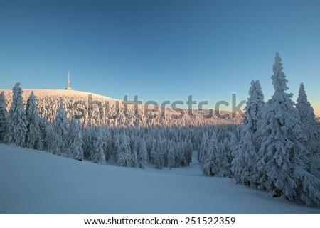 Winter landscape, Eastern Sudetenland in the Czech Republic. - stock photo