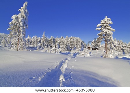 Winter landscape from Gautefall, Norway - stock photo