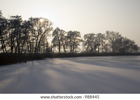 Winter landscape from the frozen lake taken against the sun. - stock photo