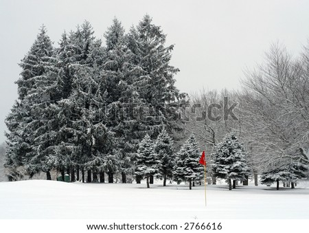 winter landscape; golf course - stock photo