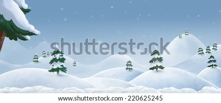 Winter landscape. Illustration.  Hills and mountains in the snow. Christmas tree in the snow