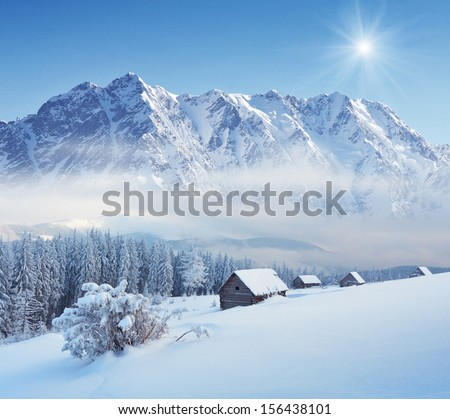 Winter landscape in a mountain valley with huts. Carpathians, Ukraine