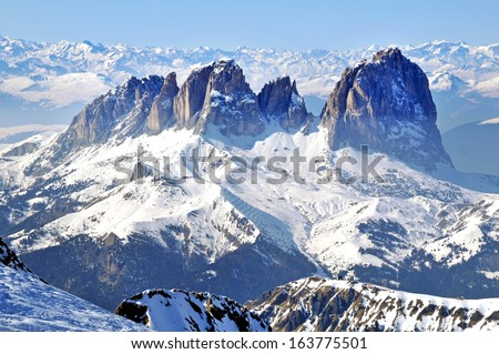 Winter landscape in a ski resort. Dolomites mountains, Italy - stock photo