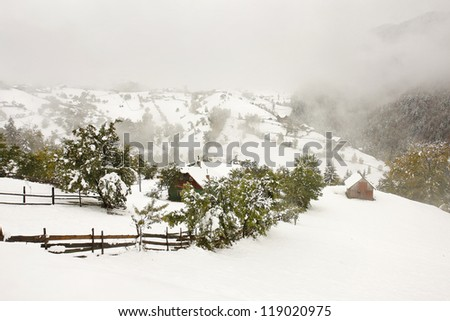 Winter landscape in a village with fog - stock photo