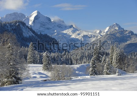 winter landscape in bavaria, germany - stock photo