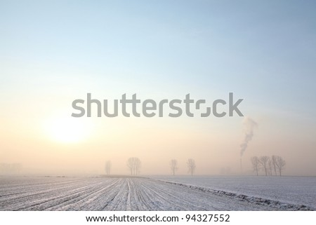 Winter landscape in cloudless frosty morning in the southern Polish. - stock photo