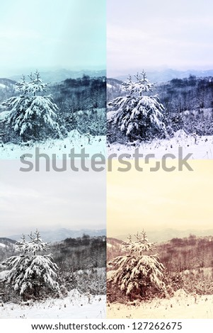winter landscape in 4 different colors - stock photo