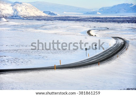 Winter landscape in Iceland - stock photo