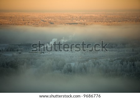 winter landscape in lapland - stock photo