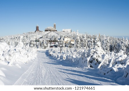 winter landscape in mountains, Germany Oberwiesenthal