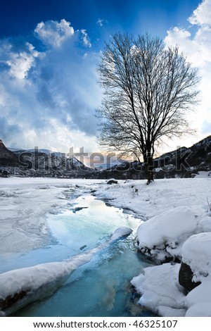 Winter landscape in Norway in December - stock photo