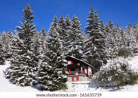 Winter landscape in Swiss Alps. Switzerland, Cari, ski resort - stock photo
