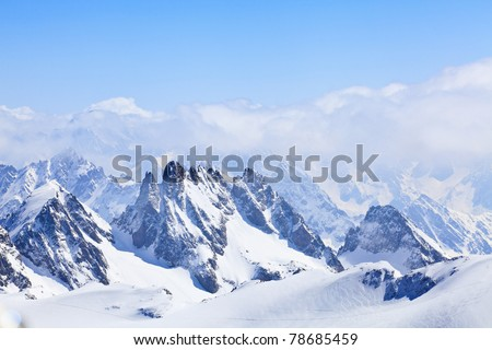 Winter landscape in the Matterhorn - stock photo