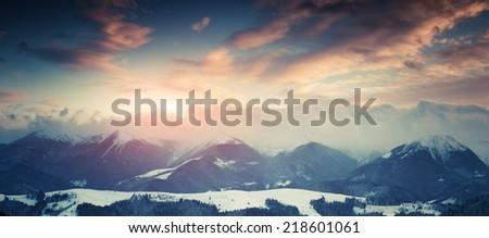Winter landscape in the mountains. Retro stile - stock photo