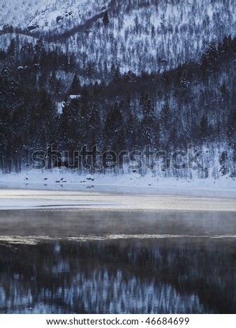 Winter landscape in the Norwegian mountains, misty lake - stock photo