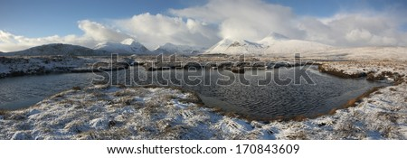 Winter landscape in the Scottish Highlands. - stock photo