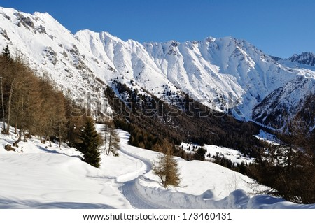 winter landscape in Val Camonica - stock photo