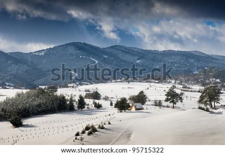 Winter landscape in western Serbia  - stock photo