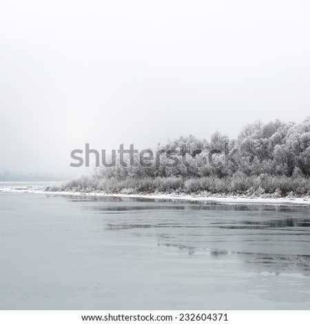 winter landscape. Little forest on beach of frost river with ice - stock photo