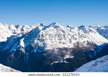 Winter Landscape Of A Ski Resort Soelden In The Oetztal Alps; Tirol; Austria - stock photo