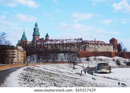 winter landscape of Krakow, Poland - stock photo