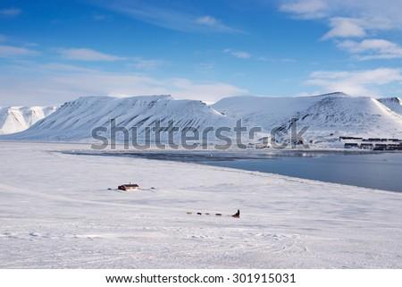 Winter landscape of Longyearbyen, Svalbard, Norway - stock photo