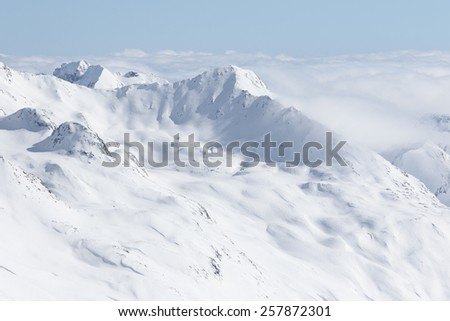 Winter landscape of mountains in the Solden ski resort in Austria.  - stock photo