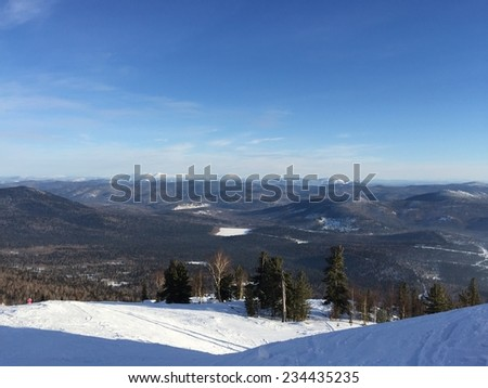 Winter landscape of snow mountain - stock photo