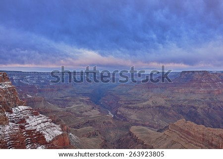Winter landscape of the Grand Canyon from the South Rim, Arizona, USA - stock photo