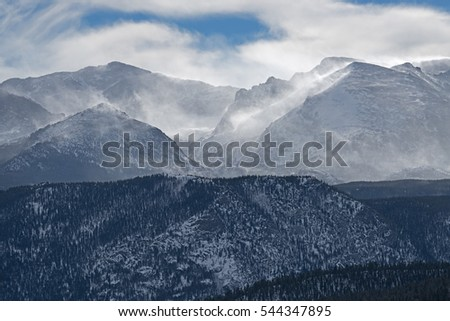 Winter landscape of the Rocky Mountains with wind blown snow, Rocky Mountain National Park, Colorado, USA