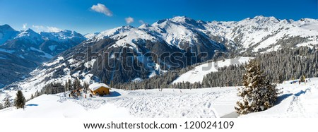 Winter landscape - Panorama of the ski resort Zell am Ziller, Tirol, Austria - stock photo
