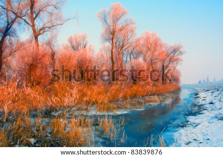 Winter landscape showing orange forest beside the river. - stock photo