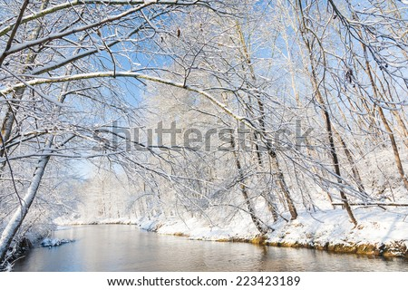 Winter landscape: small river in a snowy woods. North Italy, Europe. - stock photo
