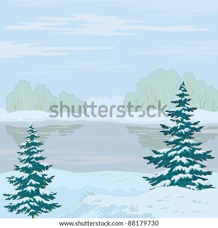 winter landscape: snow-covered forest, frozen river and the blue sky with white clouds