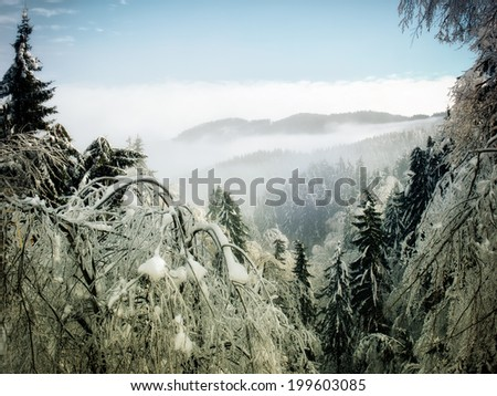 Winter landscape somewhere in European Alps - stock photo
