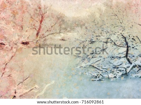 Winter landscape. The stylized illustration in gentle tones. A silent pond, the frozen trees in snow.