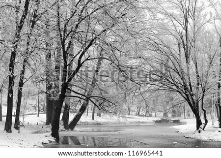 Winter Landscape Winter landscape with snow-covered trees and a winding stream. - stock photo