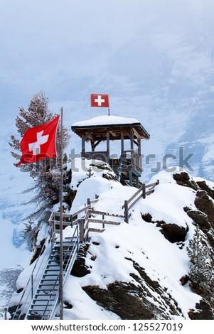 Winter landscape. winter mountains landscape. Beautiful winter - stock photo