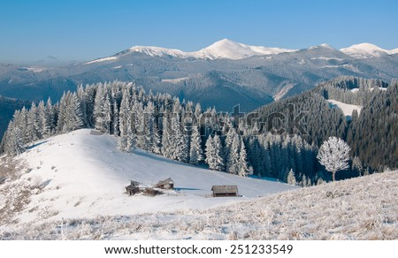 Winter landscape with a mountain valley.  - stock photo