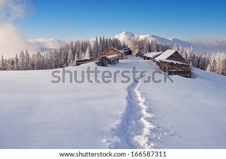 Winter landscape with a path to the mountain village of shepherds. Carpathians, Ukraine, Europe - stock photo