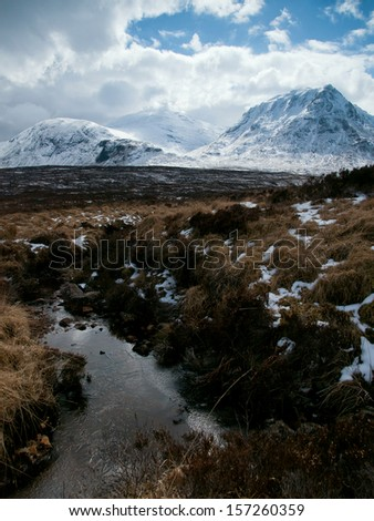 Winter landscape with a small stream near Fort William in the Scottish Highlands - stock photo
