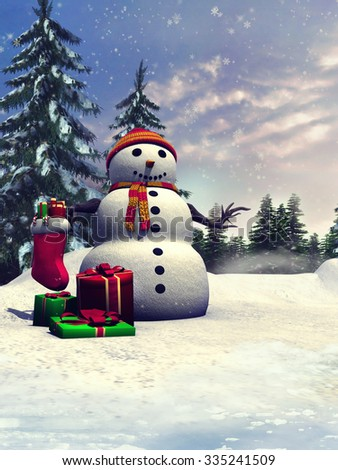 Winter landscape with a snowman and Christmas gifts in a forest - stock photo