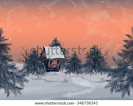 Winter landscape with brick house in the forest.Snow-covered trees and spruces. Christmas background. Rasterized version