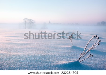 Winter landscape with church and snowy field on sunset background - stock photo