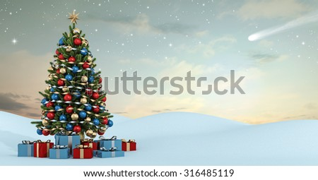 Winter landscape with colorful christmas tree and gift at sunset- 3D Rendering - stock photo