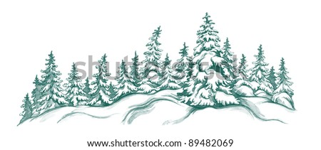 winter landscape with fir-trees - stock photo
