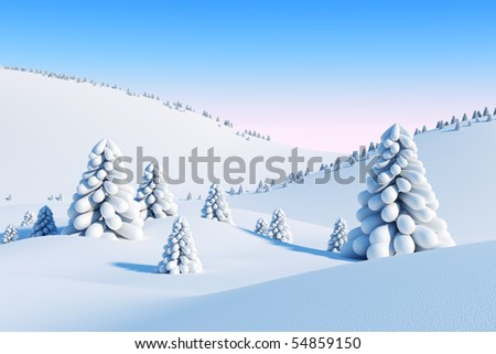 winter landscape with fir trees, 3d rendering
