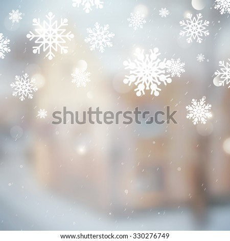 winter landscape with house and tree, blurred background for christmas and new year design - stock photo