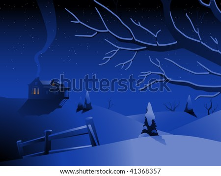 Winter landscape with house - raster