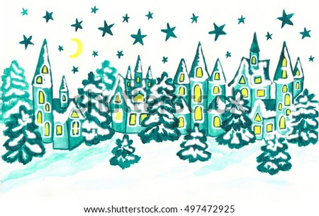 Winter landscape with houses in blue colours, hand painted Christmas - New Year illustration, watercolours.